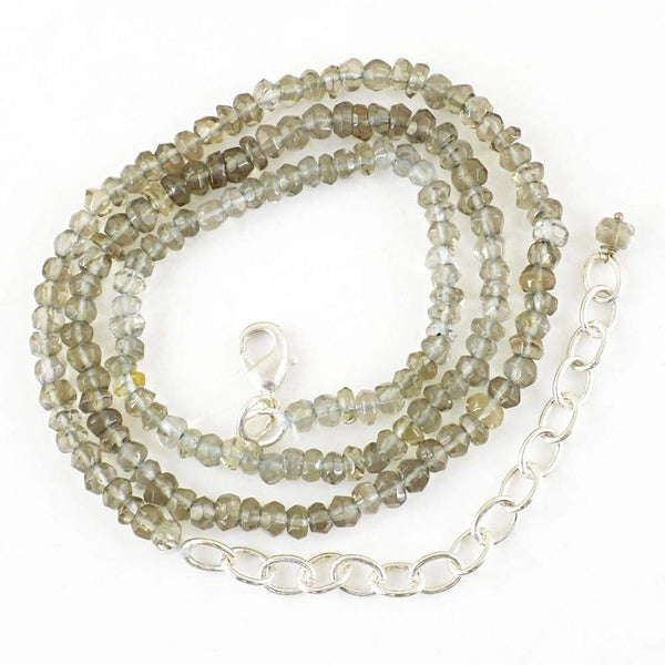 gemsmore:Faceted Natural Smoky Quartz Necklace Round Shape Beads
