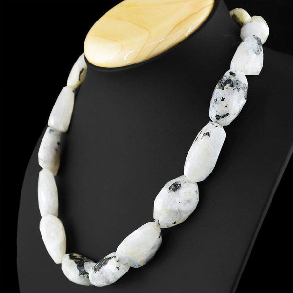 gemsmore:Faceted Natural White Moonstone Beads Necklace