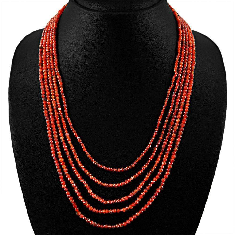 gemsmore:Faceted Orange Carnelian Necklace Natural 5 Strand Round Shape Beads