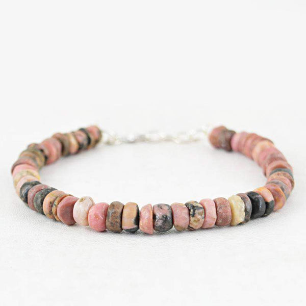 gemsmore:Faceted Pink Australian Opal Bracelet Natural Round Shape Beads