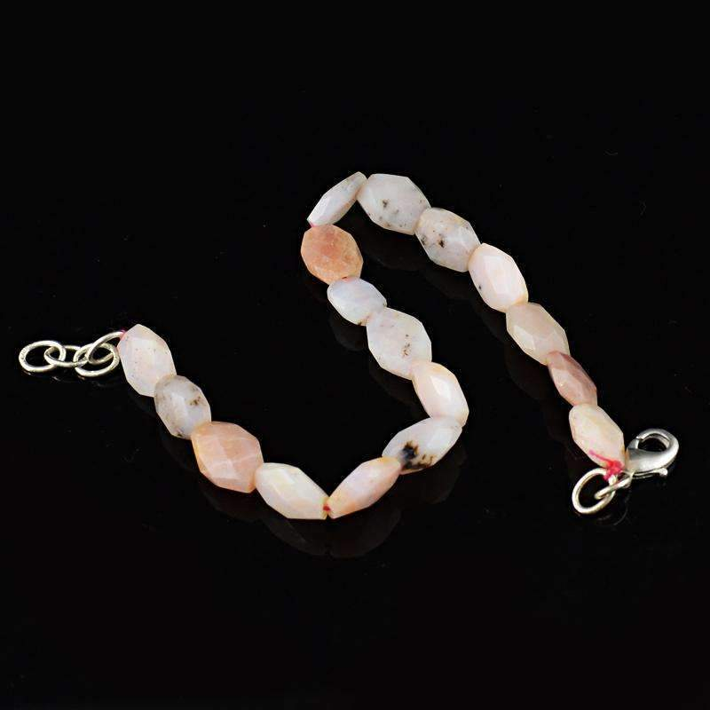 gemsmore:Faceted Pink Australian Opal Bracelet Natural Untreated Beads