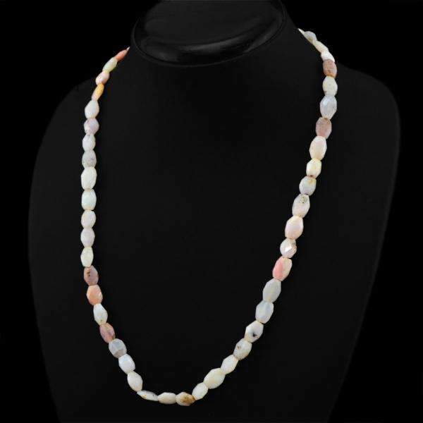 gemsmore:Faceted Pink Australian Opal Necklace Natural Untreated Beads