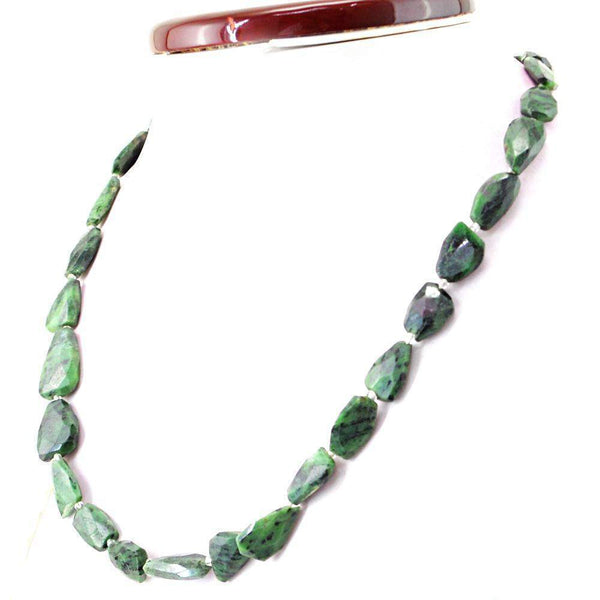 gemsmore:Faceted Ruby Ziosite Necklace Natural Untreated Beads