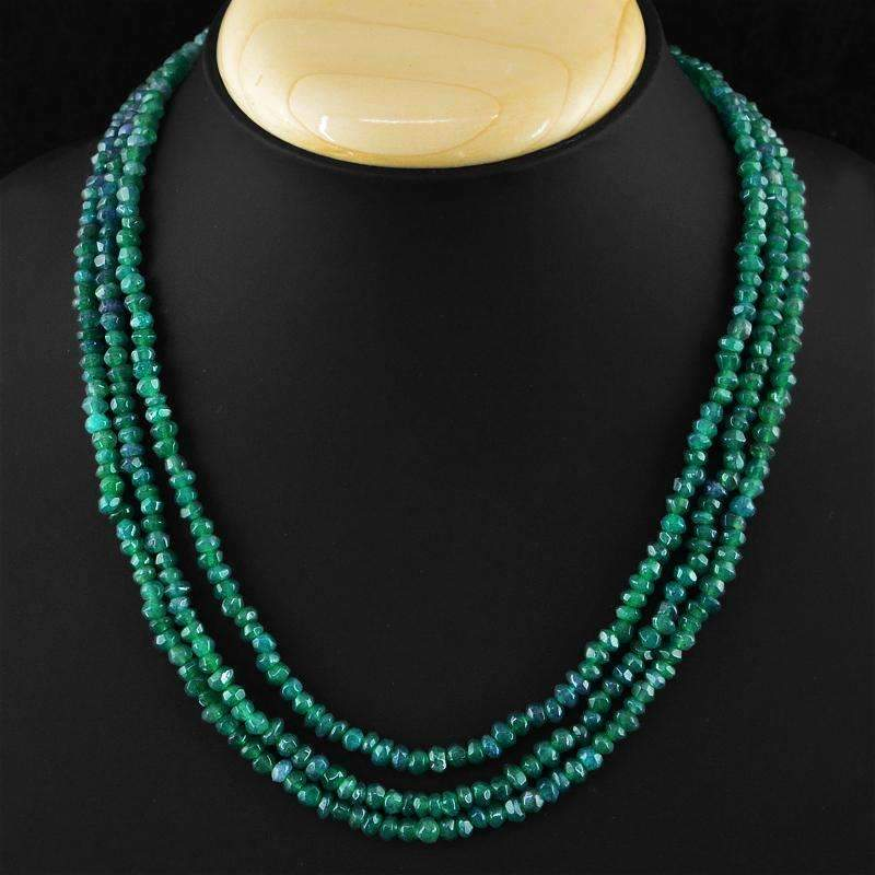 gemsmore:Faceted Untreated Green Emerald Necklace Natural 3 Strand Genuine Beads