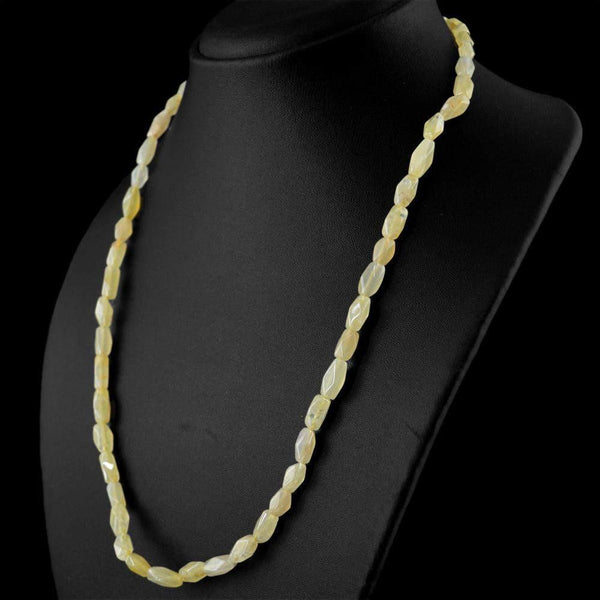 gemsmore:Faceted Yellow Aventurine Necklace Natural Untreated Beads