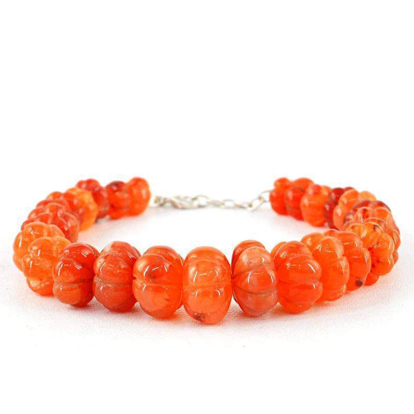 gemsmore:Flower Carved Carnelian Bracelet Natural Round Shape Beads