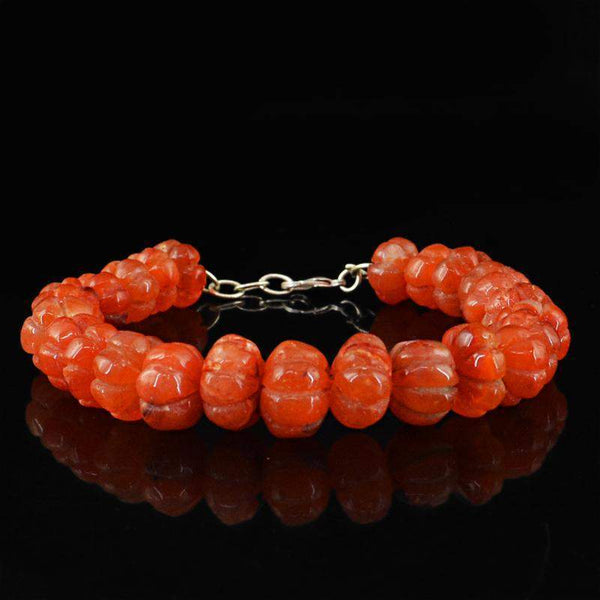 gemsmore:Flower Carved Orange Carnelian Bracelet Round Shape - Natural Beads