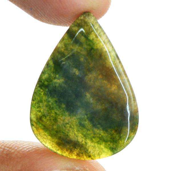 gemsmore:Amazing Natural Pear Shape Green Moss Agate Untreated Loose Gemstone