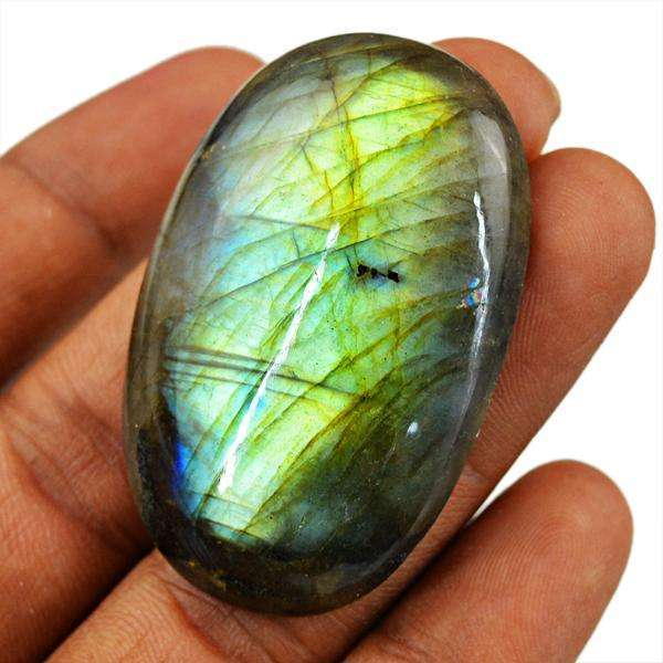 gemsmore:Natural Golden & Blue Flash Labradorite Oval Shape Loose Gemstone