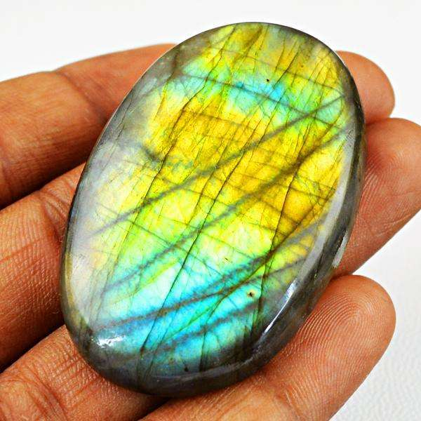 gemsmore:Natural Oval Shape Golden & Blue Flash Labradorite Untreated Loose Gemstone