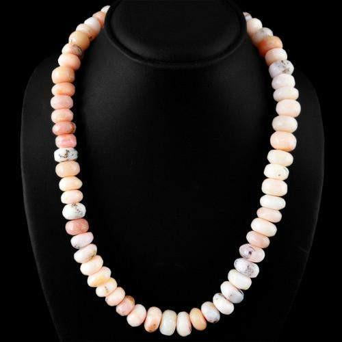 gemsmore:Genuie Pink Australian Opal Beads Necklace