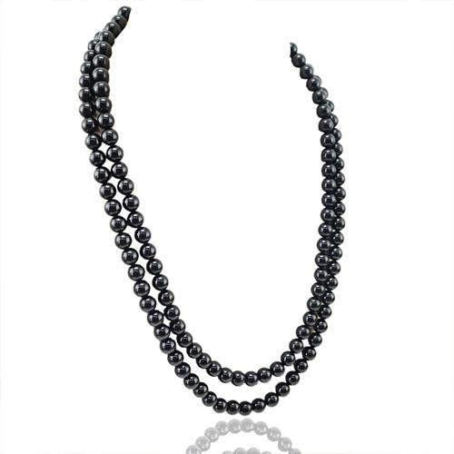 gemsmore:Genuine 2 Line Black Spinel Beads Necklace