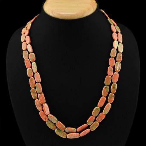 gemsmore:Genuine 2 Line Blood Green Unakite Beads Necklace