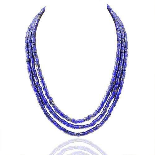 gemsmore:Genuine 3 Line Blue Lapis Lazuli Beads Necklace