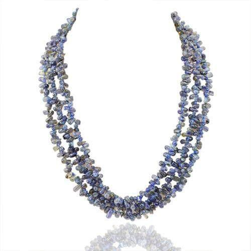 gemsmore:Genuine 3 Line Blue Tanzanite Beads Necklace