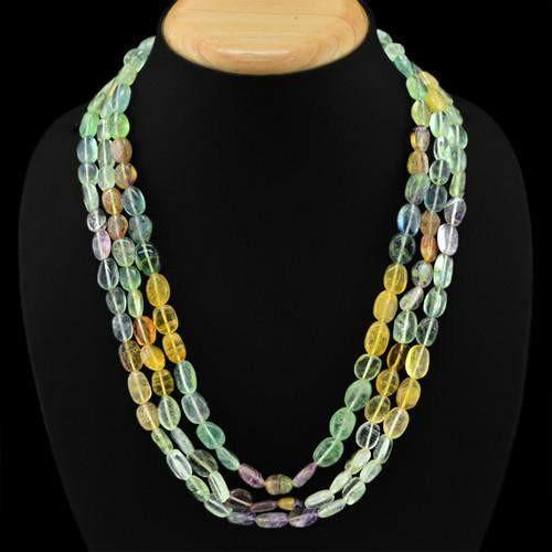 gemsmore:Genuine 3 Line Multicolor Flourite Beads Necklace