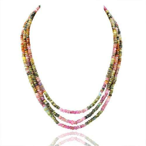 gemsmore:Genuine 3 Line Watermelon Tourmaline Beads Necklace