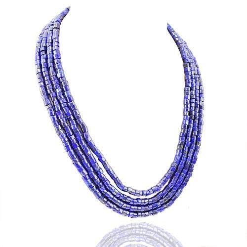 gemsmore:Genuine 4 Line Lapis Lazuli Beads Necklace
