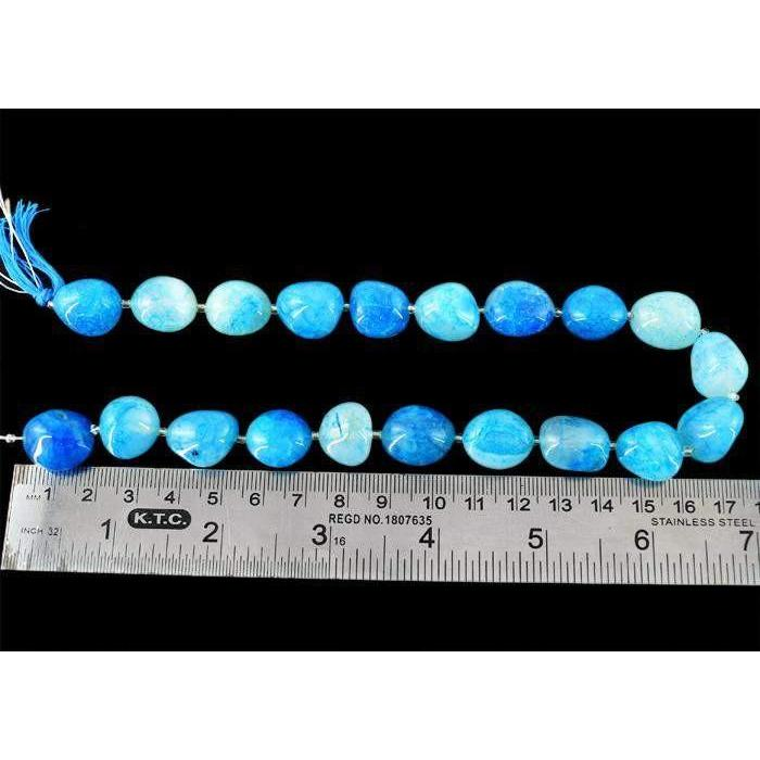 gemsmore:Genuine 400.00 Cts Drilled Blue Onyx Beads Strand