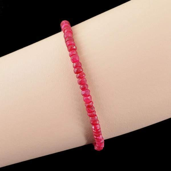 gemsmore:Genuine 41.95 Cts Red Ruby Faceted Beads Bracelet