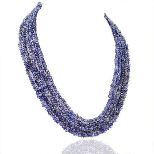 gemsmore:Genuine 5 Line Blue Tanzanite Beads Necklace