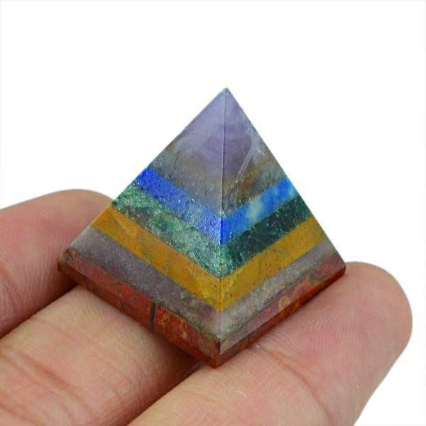 gemsmore:Genuine 59.50 Cts Multi GemsHealing Pyramid