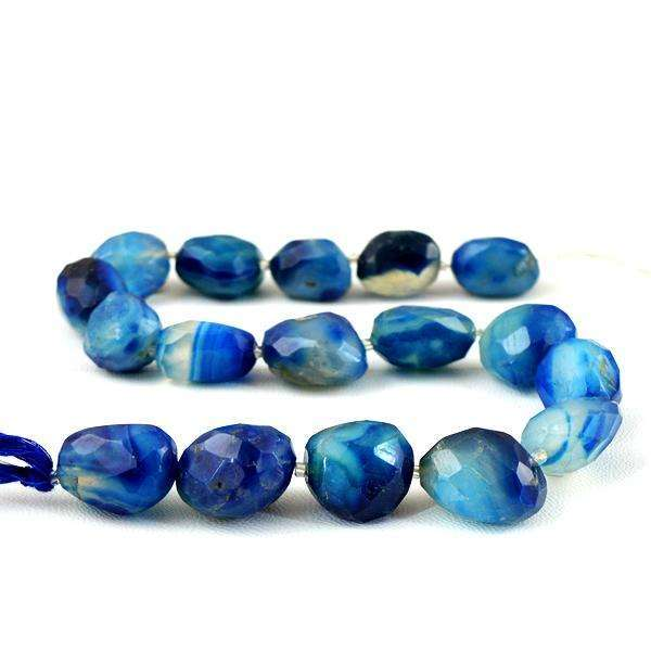 gemsmore:Genuine Amazing Faceted Blue Onyx Drilled Beads Strand