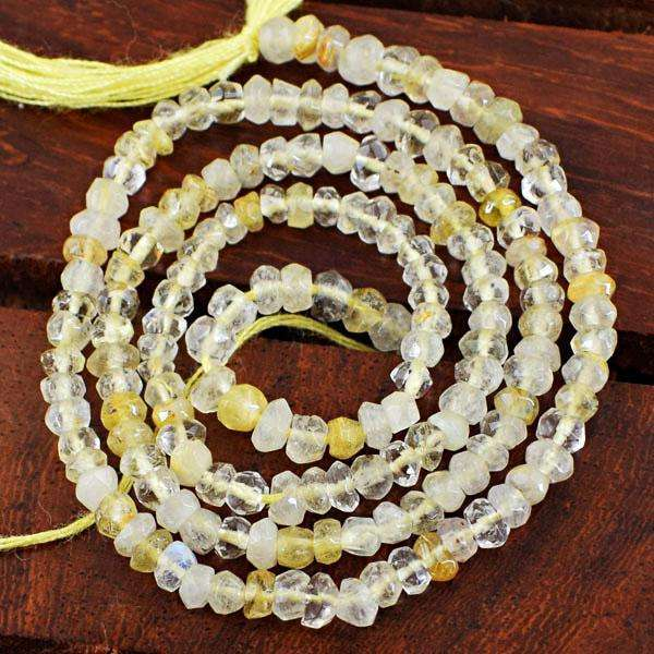 gemsmore:Genuine Amazing Faceted Rutile Quartz Drilled Beads Strand