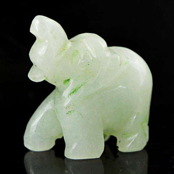 gemsmore:Genuine Amazing Green Aventurine Hand Carved Elephant.