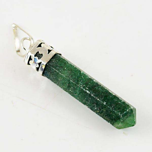 gemsmore:Genuine Amazing Green Jade Healing Point Pendant