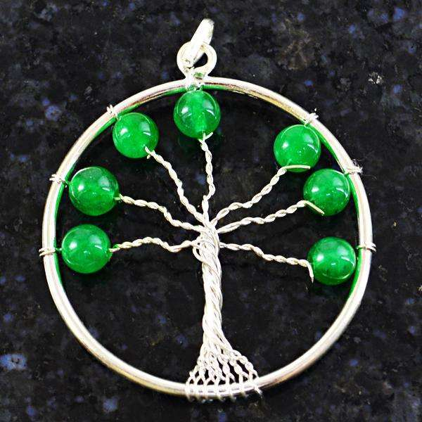 gemsmore:Genuine Amazing Round Shape Green Jade Tree Pendant