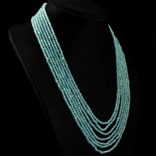 gemsmore:Genuine Blue Apatite 7 Line Beads necklace