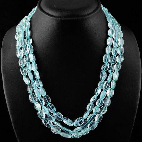 gemsmore:Genuine Blue Aquamarine 3 Line Oval Beads Necklace