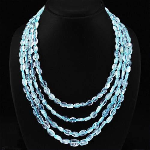 gemsmore:Genuine Blue Aquamarine 4 Line Oval Beads Necklace