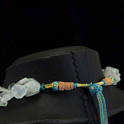 gemsmore:Genuine Blue Aquamarine Beads Necklace Strand