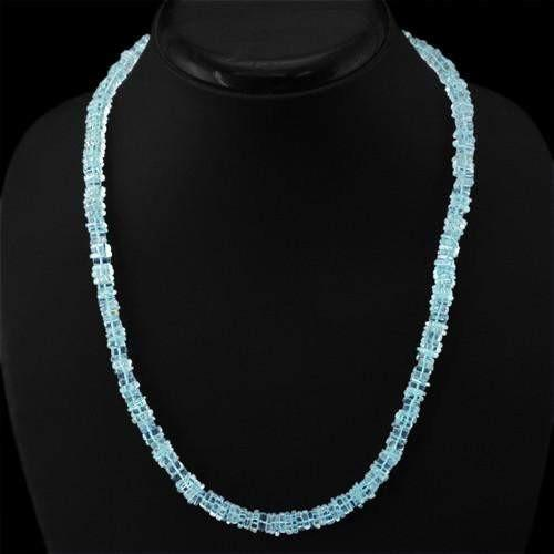 gemsmore:Genuine Blue Aquamarine Unheated Beads Necklace
