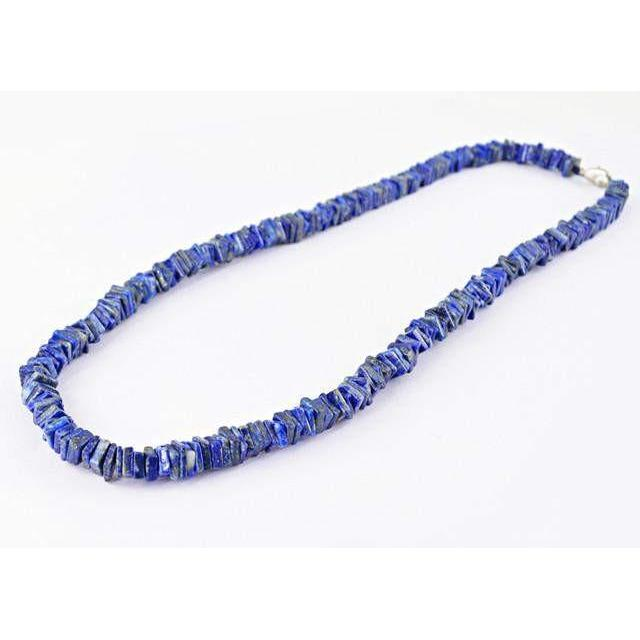 gemsmore:Genuine Blue Lapis Lazuli AAA Untreated Beads Necklace