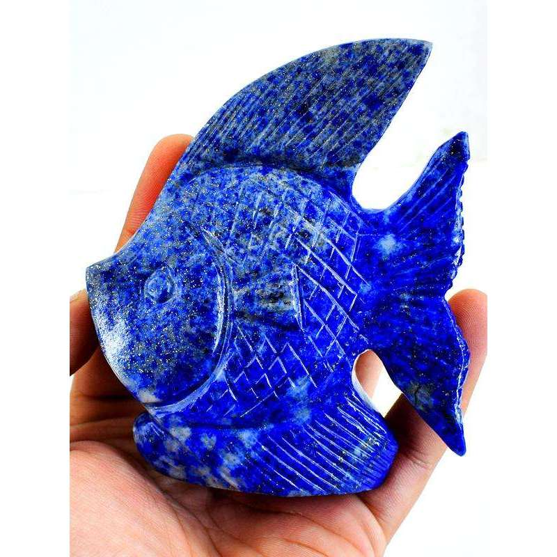 gemsmore:Genuine Blue Lapis Lazuli Hand Carved Fish