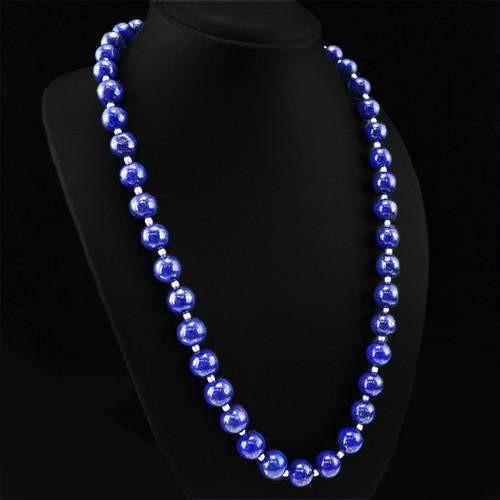 gemsmore:Genuine Blue Lapis Lazuli Round Beads Necklace