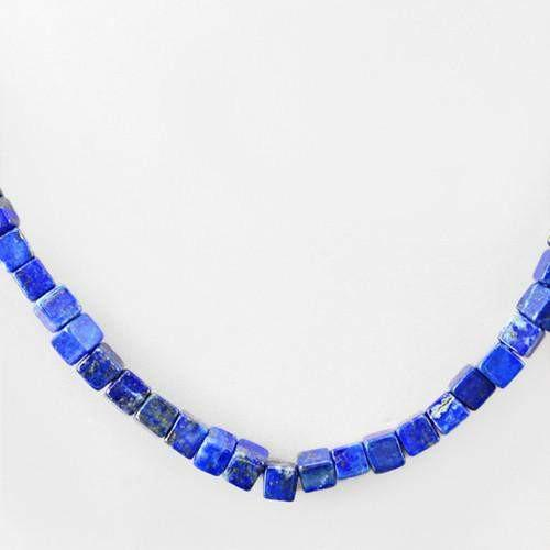 gemsmore:Genuine Blue Lapis Lazuli Untreated Beads Necklace