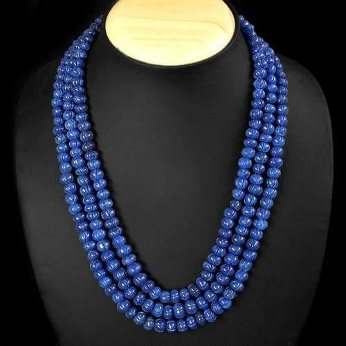 gemsmore:Genuine Blue Sapphire 3 Line Carved Beads Necklace