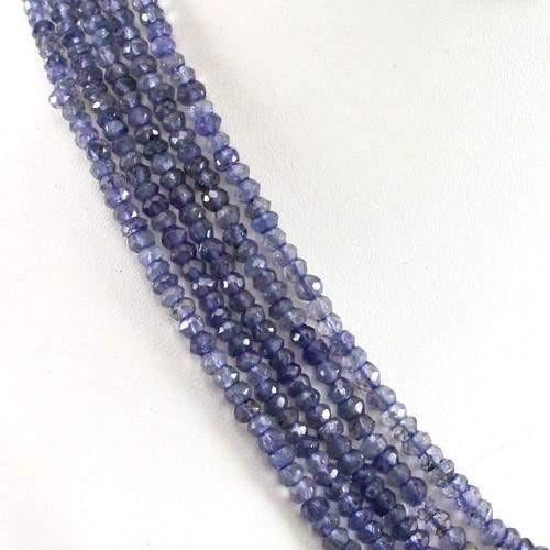 gemsmore:Genuine Blue Tanzanite Beads 5 Line Necklace
