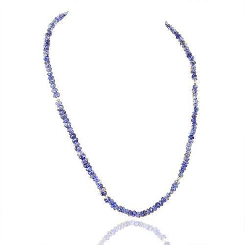 gemsmore:Genuine Blue Tanzanite Faceted Beads Necklace
