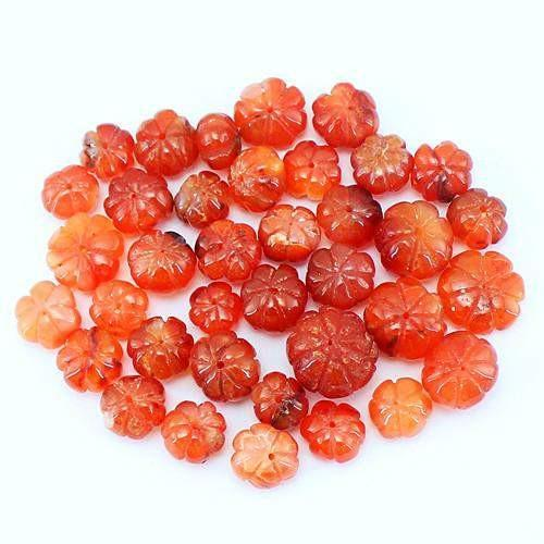 gemsmore:Genuine Drilled Carved Orange Carnelian Beads Lot
