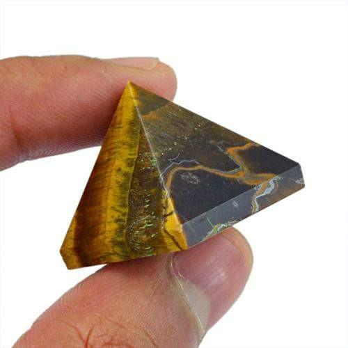 gemsmore:Genuine Golden Tiger Eye Healing Pyramid