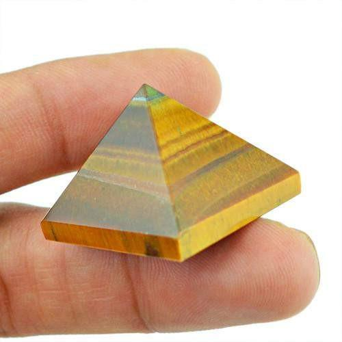gemsmore:Genuine Golden Tiger Eye Untreated Healing Pyramid
