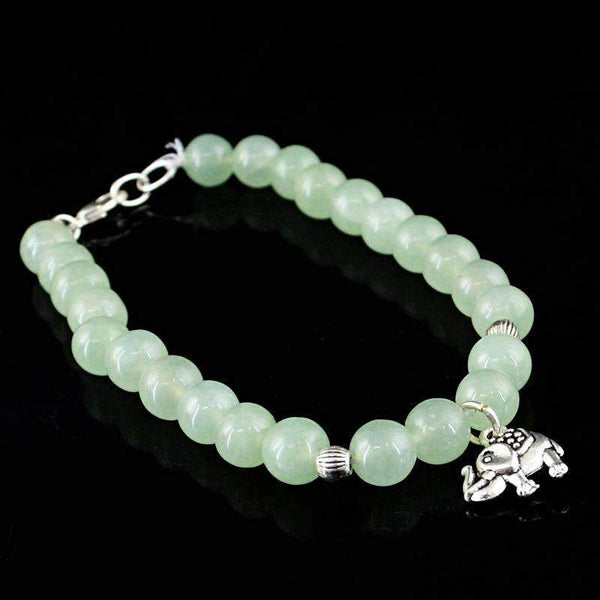 gemsmore:Genuine Green Aquamarine Round Beads Bracelet Natural Untreated