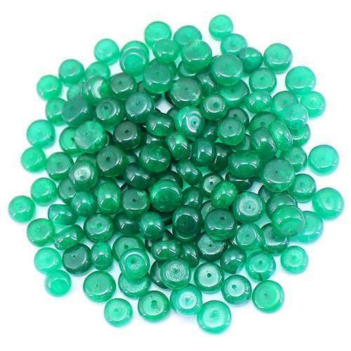gemsmore:Genuine Green Chalcedony Drilled Beads Lot
