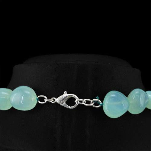 gemsmore:Genuine Green Chalcedony Untreated Beads Necklace