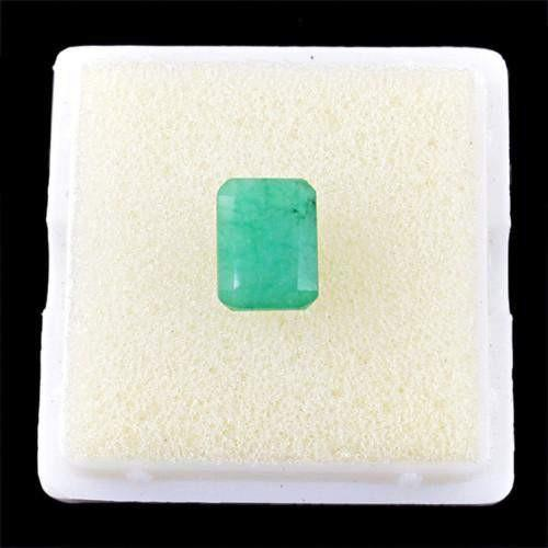 gemsmore:Genuine Green Emerald Faceted Gemstone